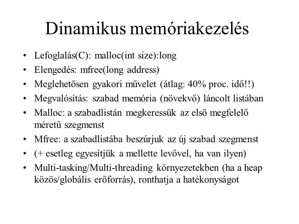 Dinamikus memóriakezelés Lefoglalás(C): malloc(int size):long Elengedés: mfree(long address) Meglehetősen gyakori művelet (átlag: 40% proc. idő!!) Meg