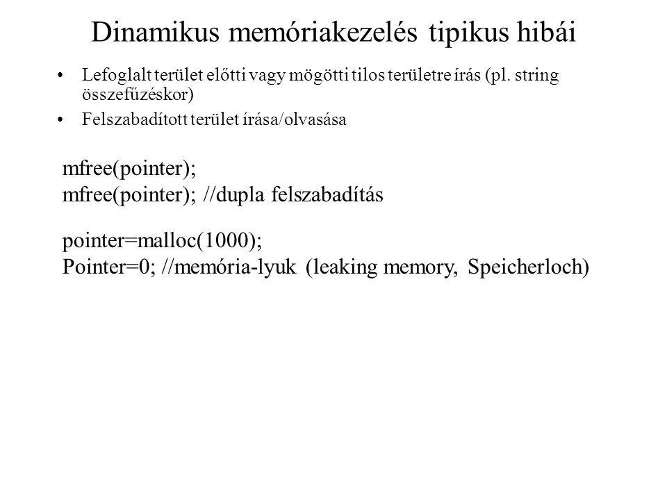 Dinamikus memóriakezelés tipikus hibái Lefoglalt terület előtti vagy mögötti tilos területre írás (pl. string összefűzéskor) Felszabadított terület ír