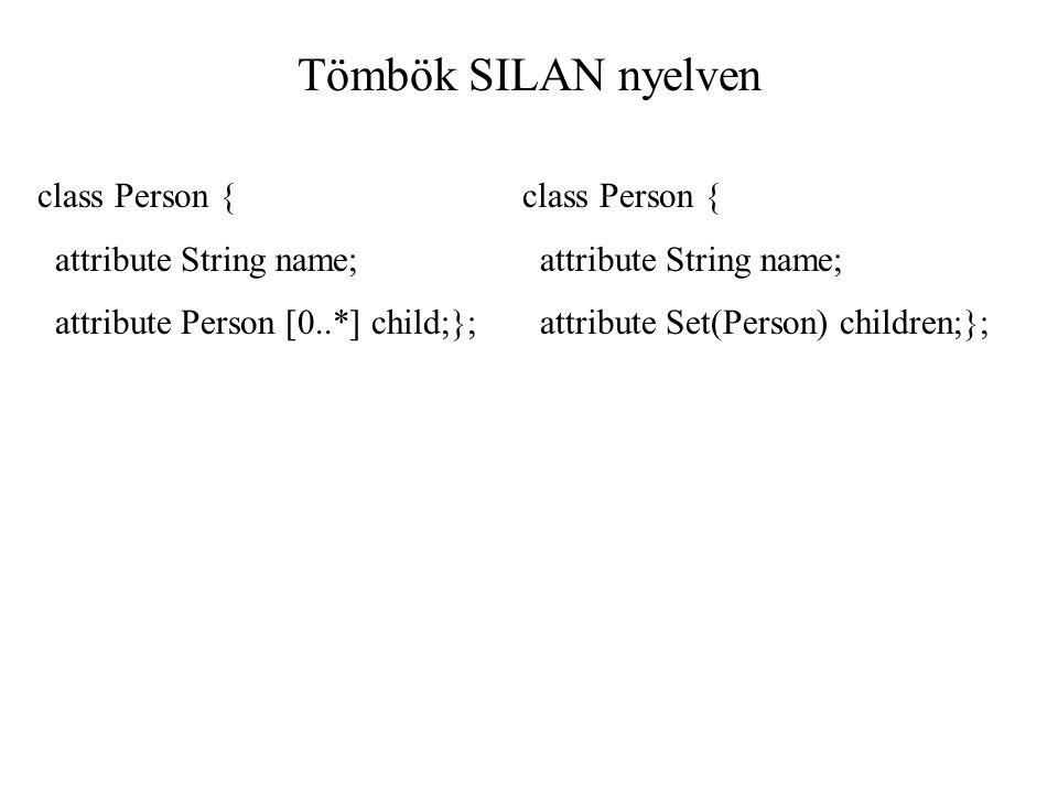 Tömbök SILAN nyelven class Person { attribute String name; attribute Person [0..*] child;}; class Person { attribute String name; attribute Set(Person