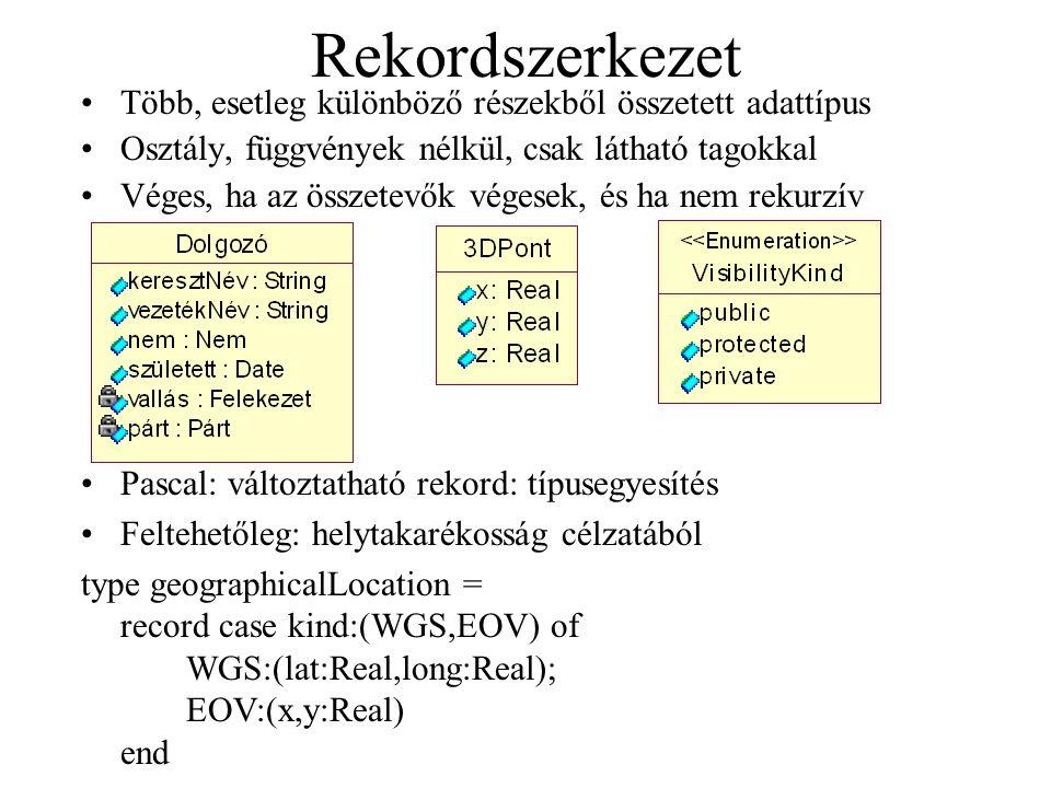 Rekordszerkezet Több, esetleg különböző részekből összetett adattípus Osztály, függvények nélkül, csak látható tagokkal Véges, ha az összetevők végese