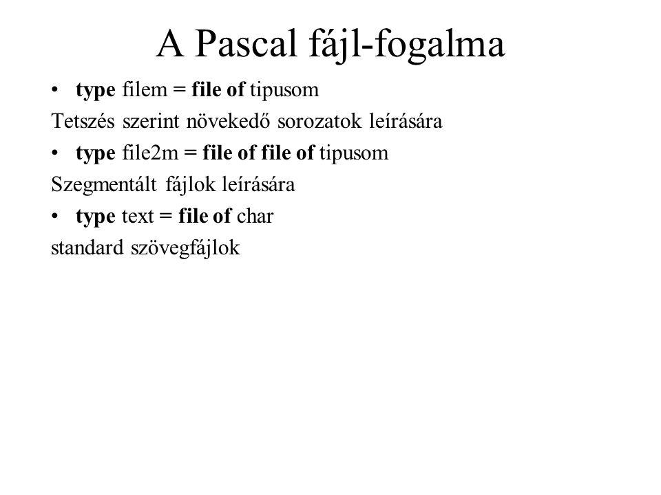 A Pascal fájl-fogalma type filem = file of tipusom Tetszés szerint növekedő sorozatok leírására type file2m = file of file of tipusom Szegmentált fájl