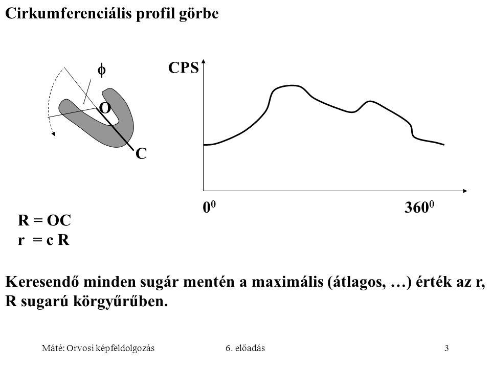 Máté: Orvosi képfeldolgozás6. előadás3 Cirkumferenciális profil görbe  CPS O C 0 0 360 0 R = OC r = c R Keresendő minden sugár mentén a maximális (át