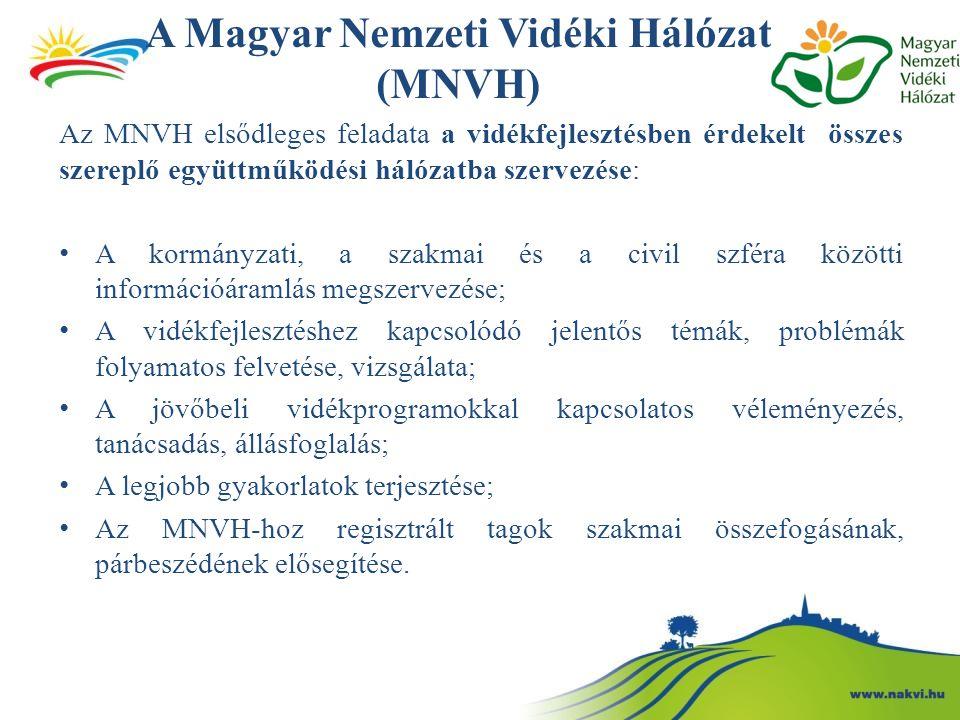 A Magyar Nemzeti Vidéki Hálózat (MNVH) Az MNVH elsődleges feladata a vidékfejlesztésben érdekelt összes szereplő együttműködési hálózatba szervezése: