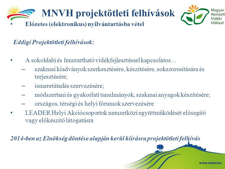 MNVH projektötleti felhívások Előzetes (elektronikus) nyilvántartásba vétel Eddigi Projektötleti felhívások: A sokoldalú és fenntartható vidékfejleszt