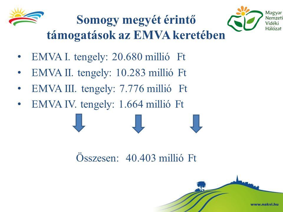 Somogy megyét érintő támogatások az EMVA keretében EMVA I. tengely: 20.680 millió Ft EMVA II. tengely: 10.283 millió Ft EMVA III. tengely: 7.776 milli