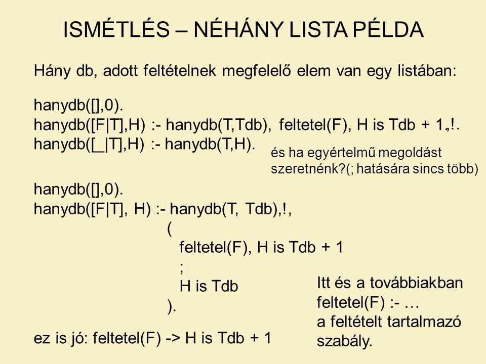 ISMÉTLÉS – NÉHÁNY LISTA PÉLDA Hány db, adott feltételnek megfelelő elem van egy listában: hanydb([],0). hanydb([F|T],H) :- hanydb(T,Tdb), feltetel(F),
