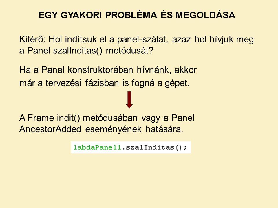 EGY GYAKORI PROBLÉMA ÉS MEGOLDÁSA Kitérő: Hol indítsuk el a panel-szálat, azaz hol hívjuk meg a Panel szalInditas() metódusát.