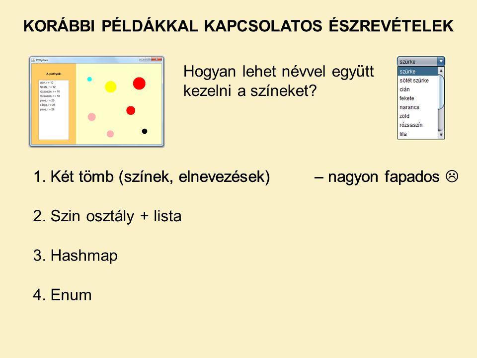 KORÁBBI PÉLDÁKKAL KAPCSOLATOS ÉSZREVÉTELEK Hashmap (RajzPanel-en) public static interface Entry A map entry (key-value pair).
