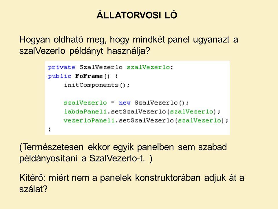 Hogyan oldható meg, hogy mindkét panel ugyanazt a szalVezerlo példányt használja.