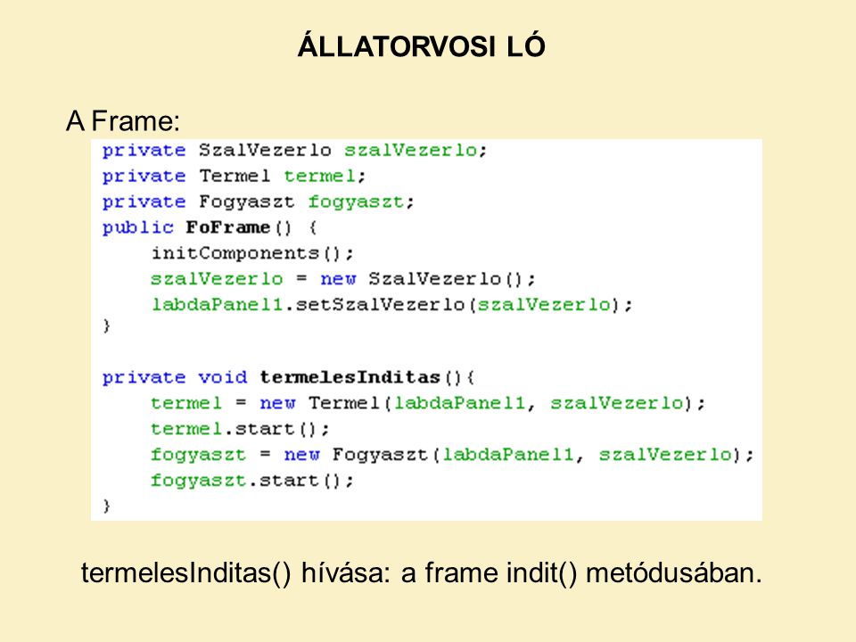 A Frame: ÁLLATORVOSI LÓ termelesInditas() hívása: a frame indit() metódusában.