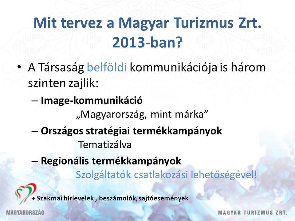 """Mit tervez a Magyar Turizmus Zrt. 2013-ban? A Társaság belföldi kommunikációja is három szinten zajlik: – Image-kommunikáció """"Magyarország, mint márka"""