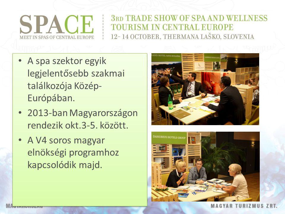 A spa szektor egyik legjelentősebb szakmai találkozója Közép- Európában. 2013-ban Magyarországon rendezik okt.3-5. között. A V4 soros magyar elnökségi