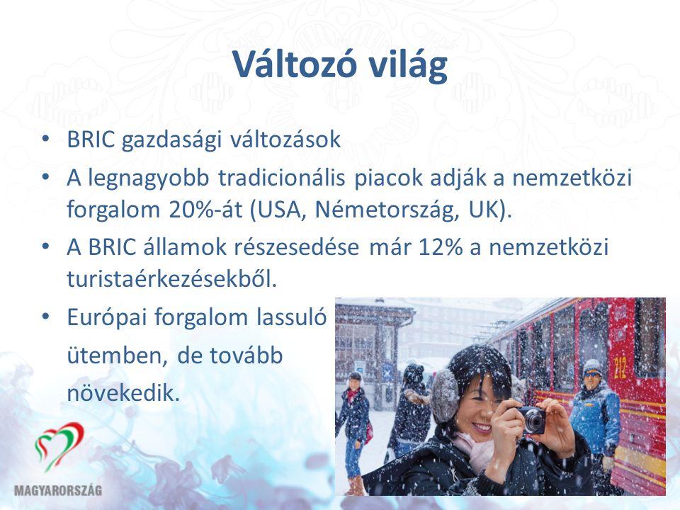 Változó világ BRIC gazdasági változások A legnagyobb tradicionális piacok adják a nemzetközi forgalom 20%-át (USA, Németország, UK). A BRIC államok ré