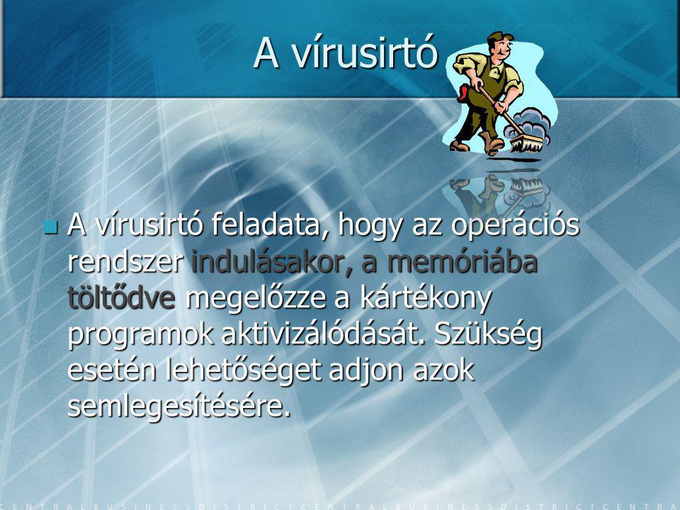 A vírusirtó A vírusirtó feladata, hogy az operációs rendszer indulásakor, a memóriába töltődve megelőzze a kártékony programok aktivizálódását.