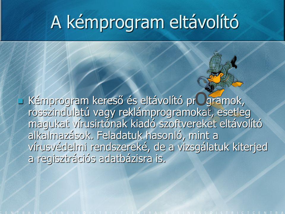 A kémprogram eltávolító Kémprogram kereső és eltávolító pr gramok, rosszindulatú vagy reklámprogramokat, esetleg magukat vírusirtónak kiadó szoftvereket eltávolító alkalmazások.