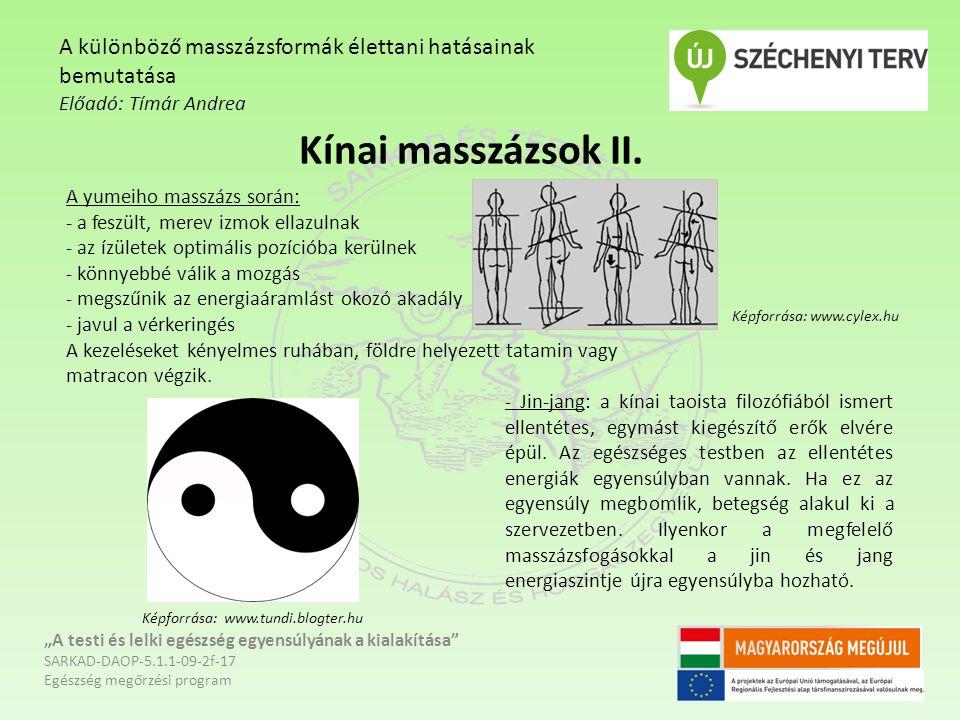"""Kínai masszázsok II. """"A testi és lelki egészség egyensúlyának a kialakítása"""" SARKAD-DAOP-5.1.1-09-2f-17 Egészség megőrzési program A különböző masszáz"""