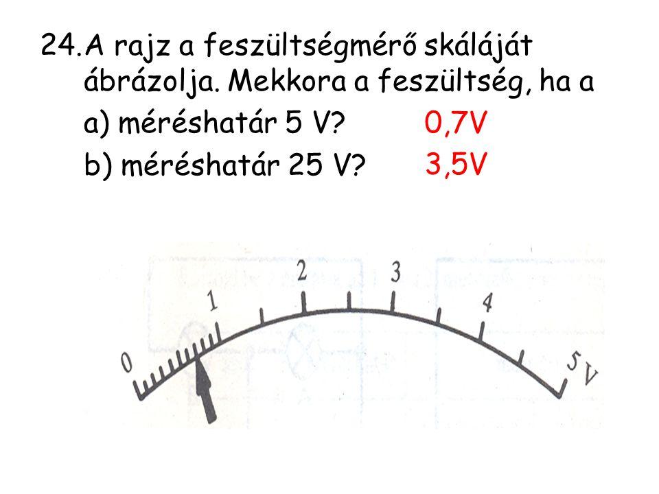 24.A rajz a feszültségmérő skáláját ábrázolja. Mekkora a feszültség, ha a a) méréshatár 5 V? b) méréshatár 25 V? 0,7V 3,5V
