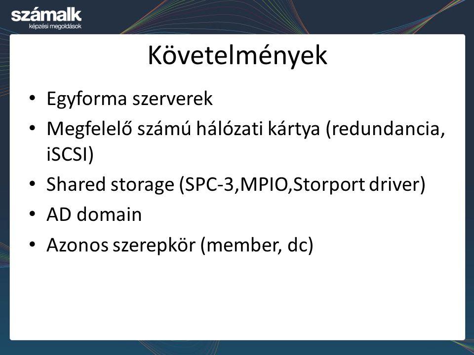 Követelmények Egyforma szerverek Megfelelő számú hálózati kártya (redundancia, iSCSI) Shared storage (SPC-3,MPIO,Storport driver) AD domain Azonos sze