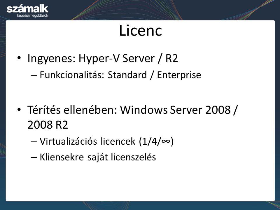 Licenc Ingyenes: Hyper-V Server / R2 – Funkcionalitás: Standard / Enterprise Térítés ellenében: Windows Server 2008 / 2008 R2 – Virtualizációs licence