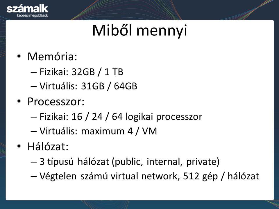 Miből mennyi Memória: – Fizikai: 32GB / 1 TB – Virtuális: 31GB / 64GB Processzor: – Fizikai: 16 / 24 / 64 logikai processzor – Virtuális: maximum 4 /