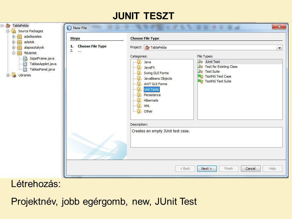JUNIT TESZT Létrehozás: Projektnév, jobb egérgomb, new, JUnit Test