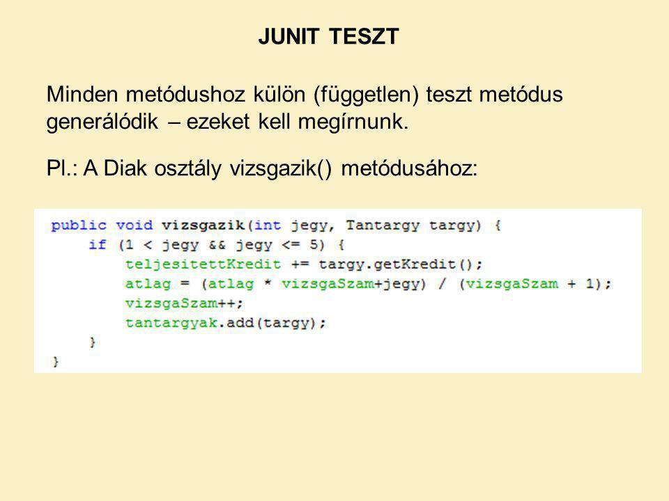JUNIT TESZT Pl.: A Diak osztály vizsgazik() metódusához: Minden metódushoz külön (független) teszt metódus generálódik – ezeket kell megírnunk.