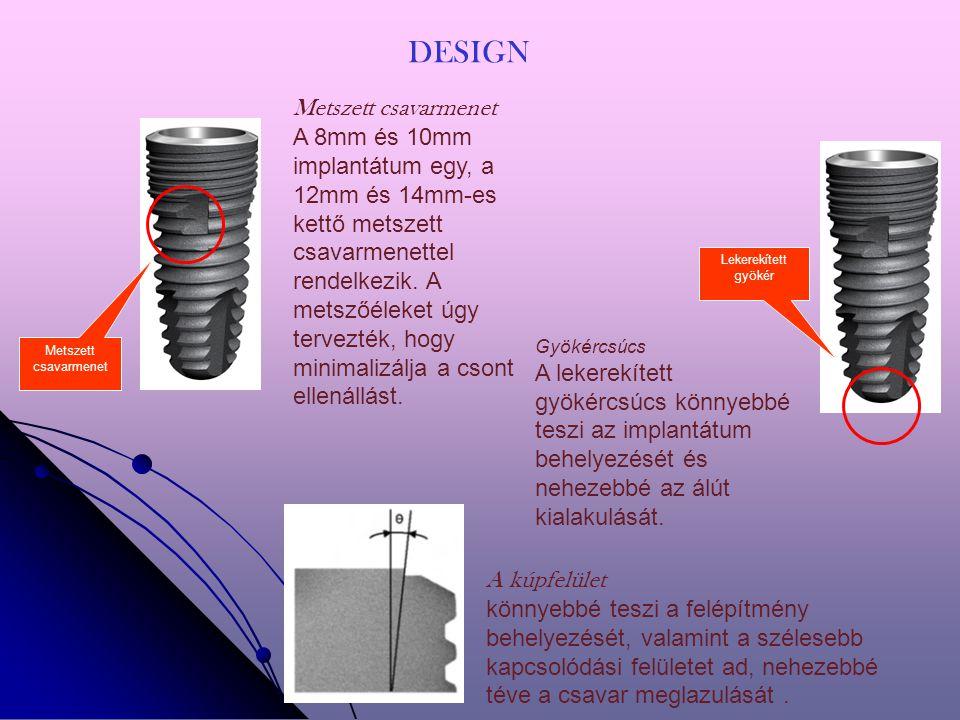 Metszett csavarmenet A 8mm és 10mm implantátum egy, a 12mm és 14mm-es kettő metszett csavarmenettel rendelkezik.
