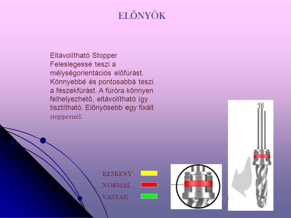 EL Ő NYÖK KESKENY NORMÁL VASTAG Eltávolítható Stopper Feleslegessé teszi a mélységorientációs előfúrást.