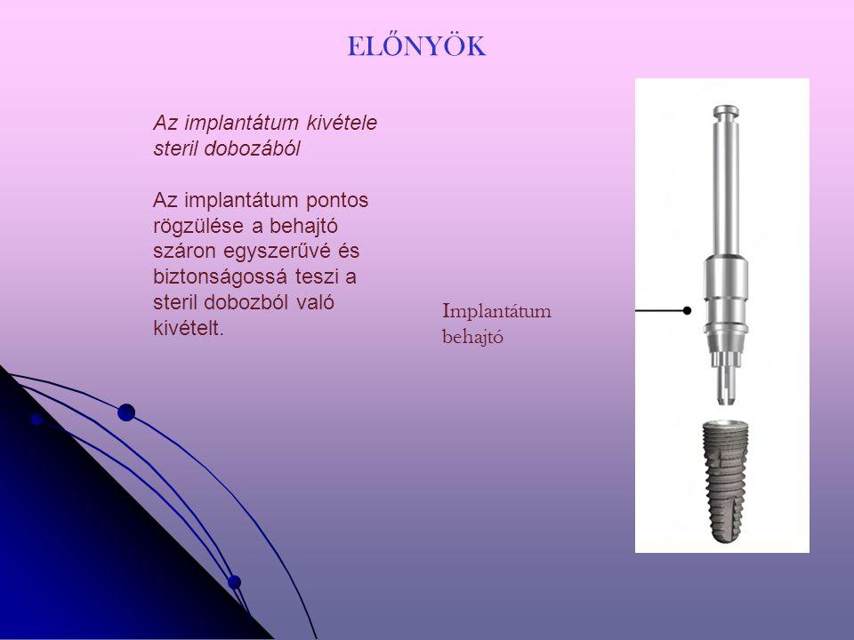 EL Ő NYÖK Implantátum behajtó Az implantátum kivétele steril dobozából Az implantátum pontos rögzülése a behajtó száron egyszerűvé és biztonságossá teszi a steril dobozból való kivételt.