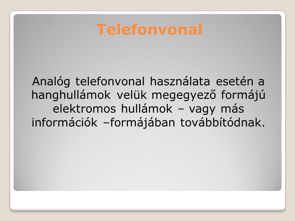 Telefonvonal Analóg telefonvonal használata esetén a hanghullámok velük megegyező formájú elektromos hullámok – vagy más információk –formájában továb