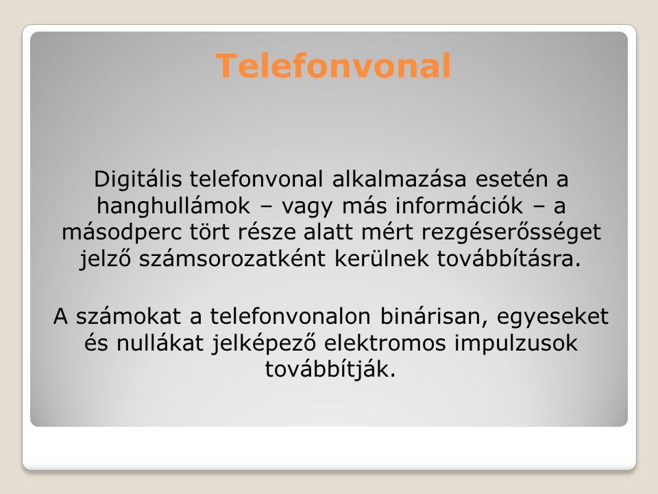 Telefonvonal Digitális telefonvonal alkalmazása esetén a hanghullámok – vagy más információk – a másodperc tört része alatt mért rezgéserősséget jelző
