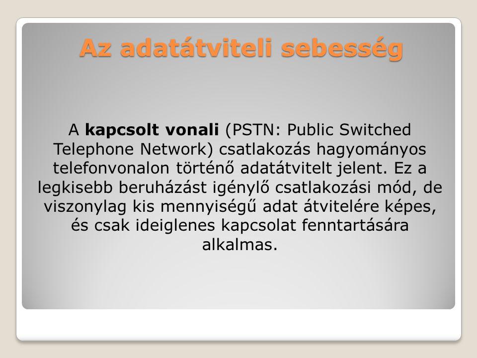 Az adatátviteli sebesség A kapcsolt vonali (PSTN: Public Switched Telephone Network) csatlakozás hagyományos telefonvonalon történő adatátvitelt jelen