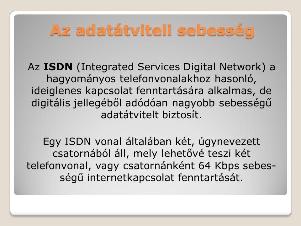 Az adatátviteli sebesség Az ISDN (Integrated Services Digital Network) a hagyományos telefonvonalakhoz hasonló, ideiglenes kapcsolat fenntartására alk