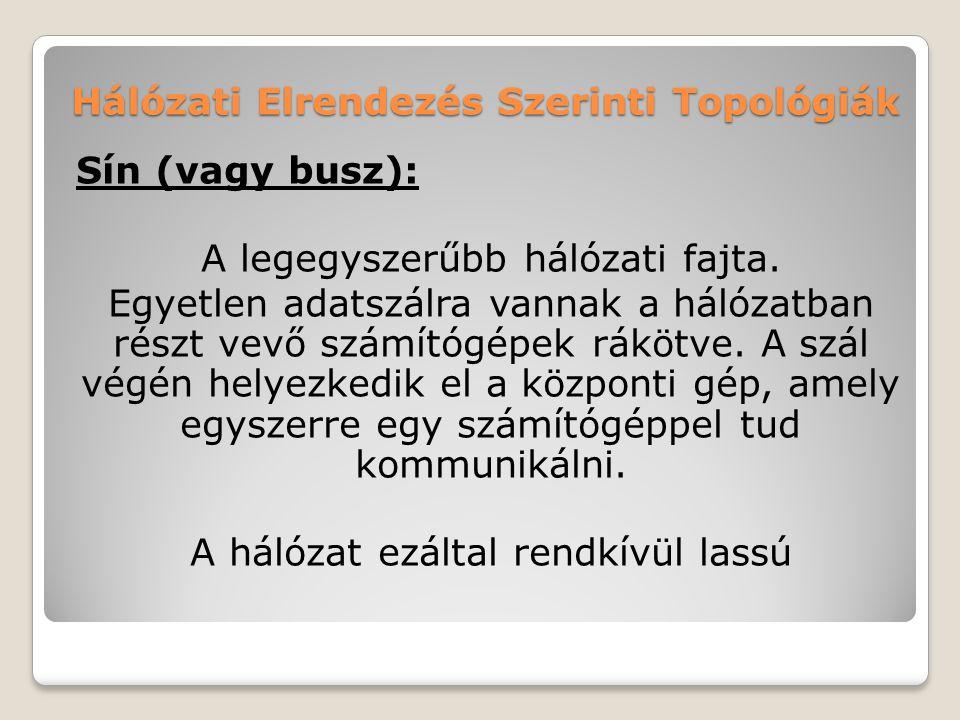 Hálózati Elrendezés Szerinti Topológiák Sín (vagy busz): A legegyszerűbb hálózati fajta. Egyetlen adatszálra vannak a hálózatban részt vevő számítógép