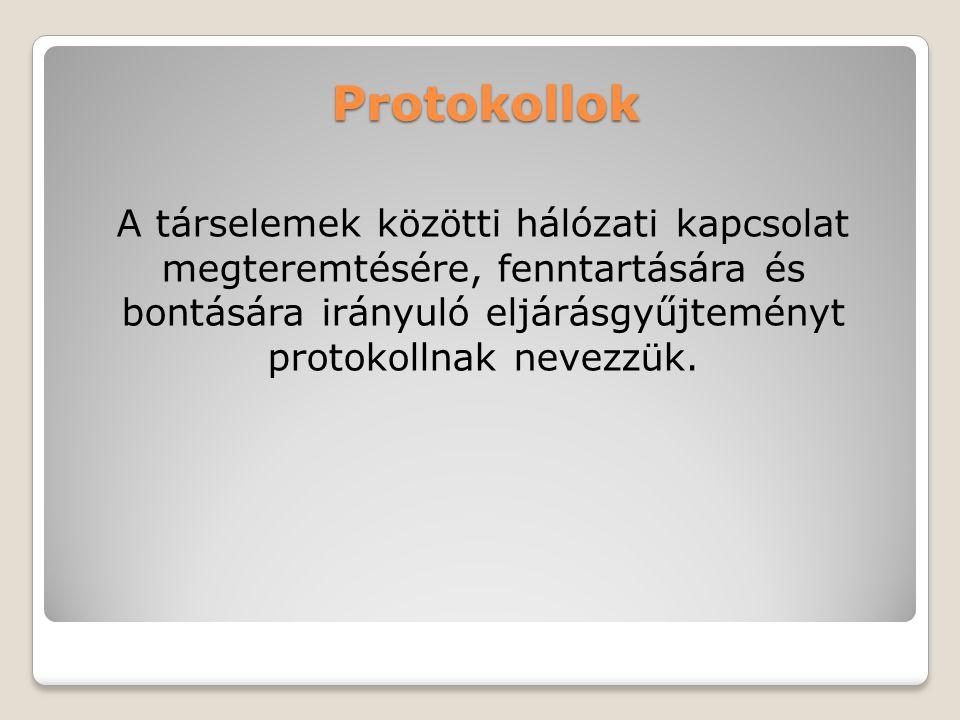 Protokollok A társelemek közötti hálózati kapcsolat megteremtésére, fenntartására és bontására irányuló eljárásgyűjteményt protokollnak nevezzük.