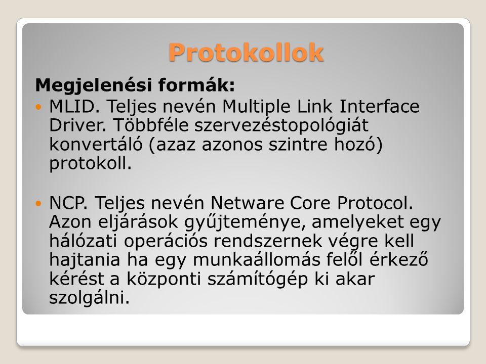 Protokollok Megjelenési formák: MLID. Teljes nevén Multiple Link Interface Driver. Többféle szervezéstopológiát konvertáló (azaz azonos szintre hozó)