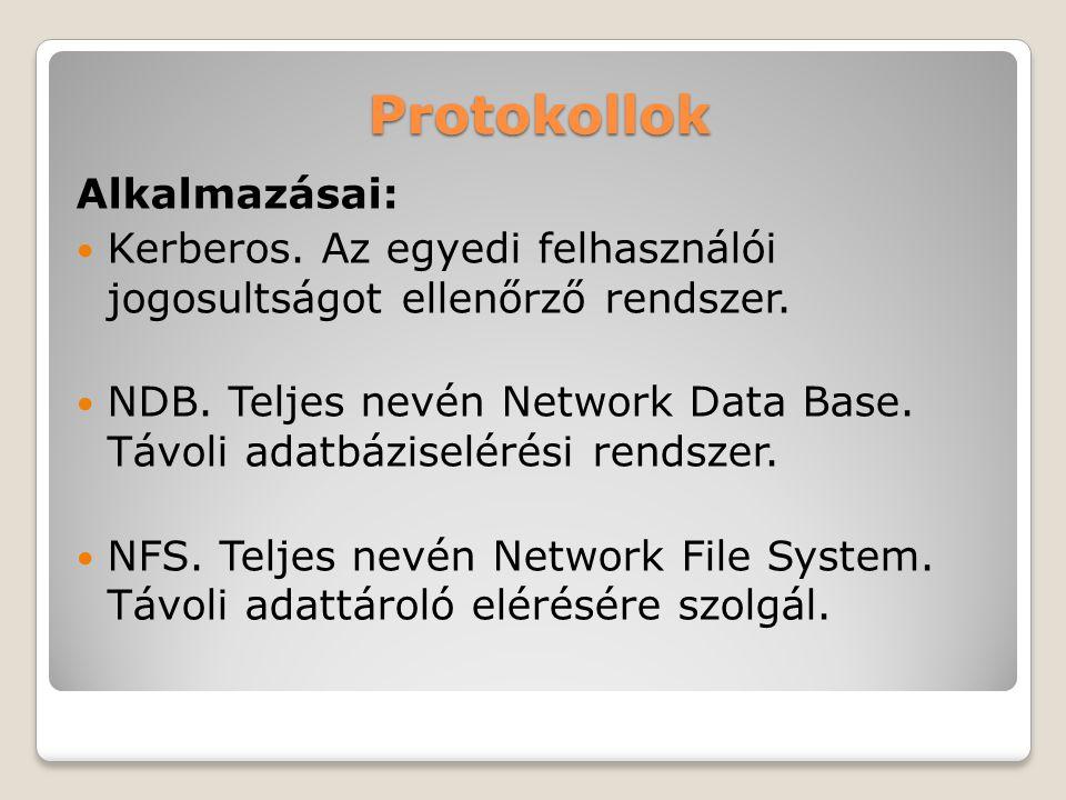 Protokollok Alkalmazásai: Kerberos. Az egyedi felhasználói jogosultságot ellenőrző rendszer. NDB. Teljes nevén Network Data Base. Távoli adatbáziselér
