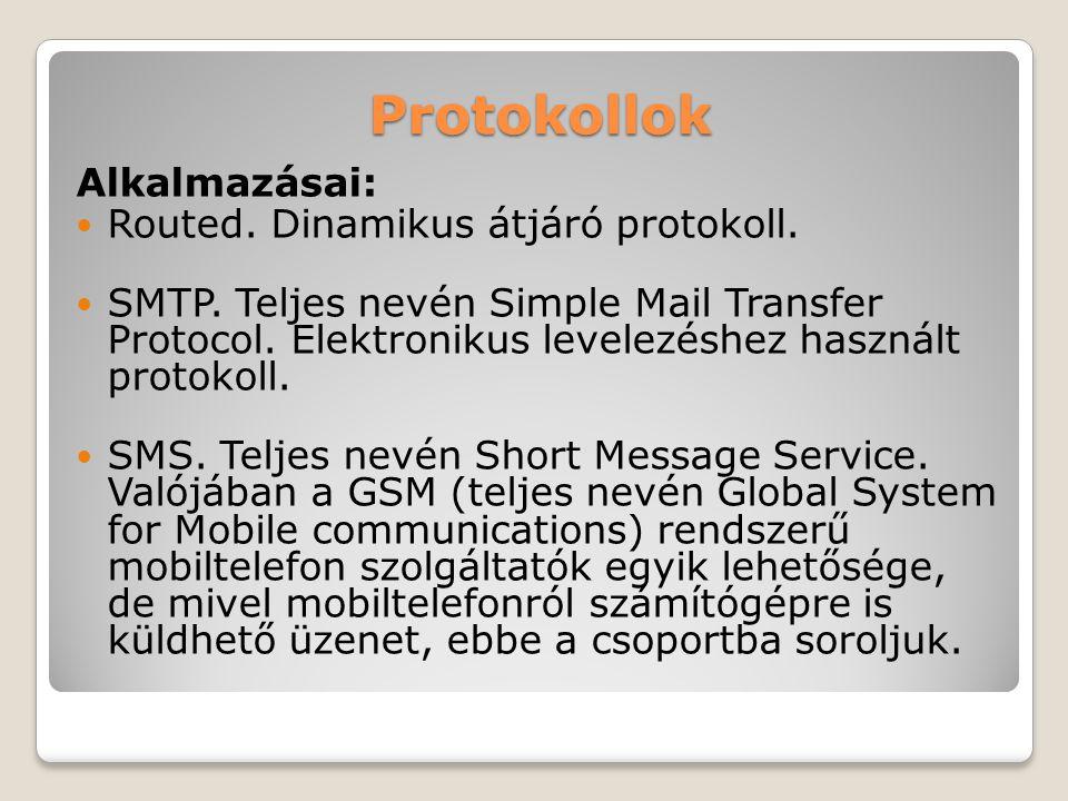 Protokollok Alkalmazásai: Routed. Dinamikus átjáró protokoll. SMTP. Teljes nevén Simple Mail Transfer Protocol. Elektronikus levelezéshez használt pro