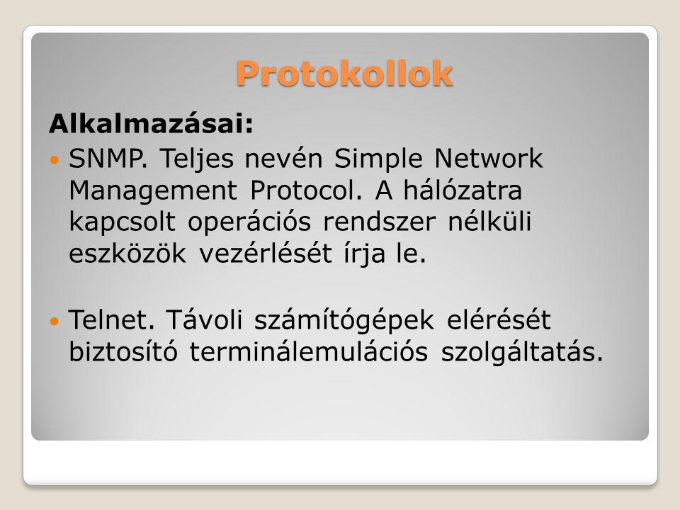 Protokollok Alkalmazásai: SNMP. Teljes nevén Simple Network Management Protocol. A hálózatra kapcsolt operációs rendszer nélküli eszközök vezérlését í