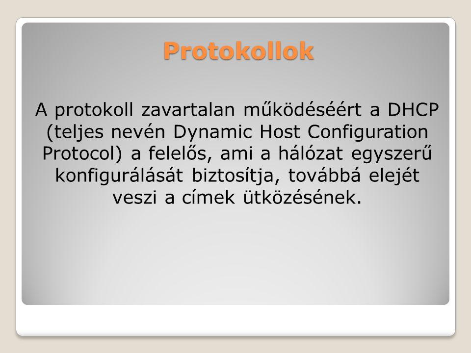 Protokollok A protokoll zavartalan működéséért a DHCP (teljes nevén Dynamic Host Configuration Protocol) a felelős, ami a hálózat egyszerű konfigurálá