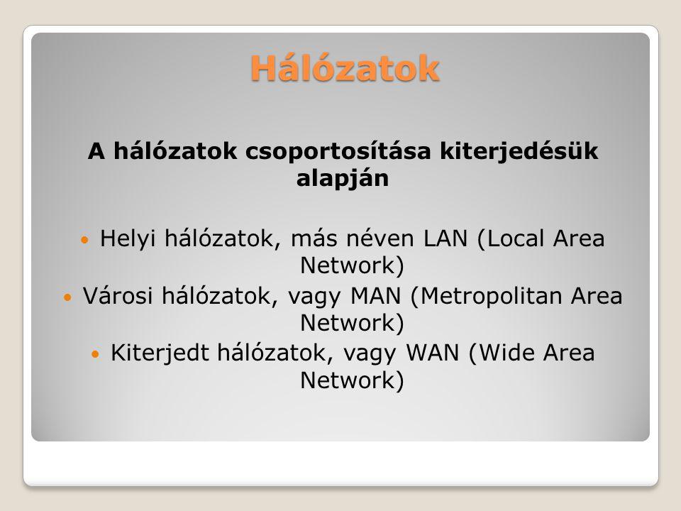 Hálózatok A hálózatok csoportosítása kiterjedésük alapján Helyi hálózatok, más néven LAN (Local Area Network) Városi hálózatok, vagy MAN (Metropolitan