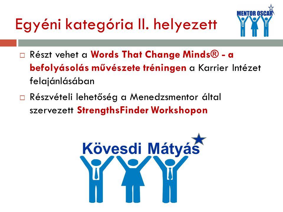 Egyéni kategória II. helyezett  Részt vehet a Words That Change Minds® - a befolyásolás művészete tréningen a Karrier Intézet felajánlásában  Részvé