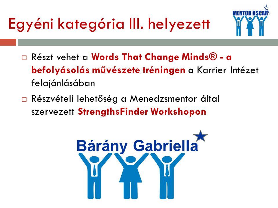 Egyéni kategória III. helyezett  Részt vehet a Words That Change Minds® - a befolyásolás művészete tréningen a Karrier Intézet felajánlásában  Részv