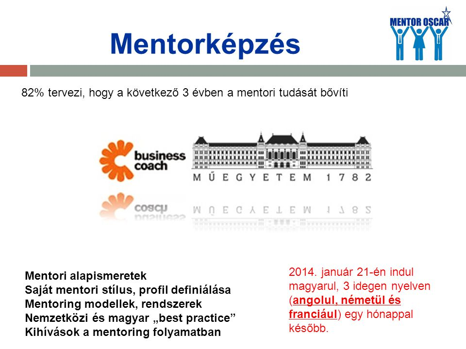 Mentorképzés 2014. január 21-én indul magyarul, 3 idegen nyelven (angolul, németül és franciául) egy hónappal később. Mentori alapismeretek Saját ment