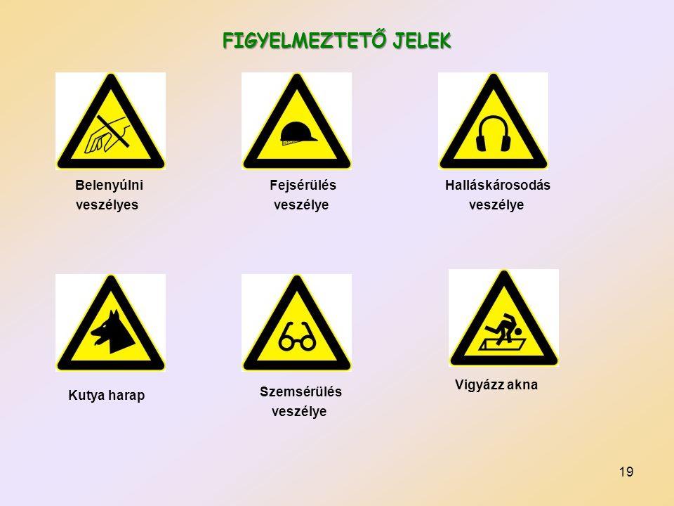 19 FIGYELMEZTETŐ JELEK Belenyúlni veszélyes Fejsérülés veszélye Halláskárosodás veszélye Kutya harap Szemsérülés veszélye Vigyázz akna