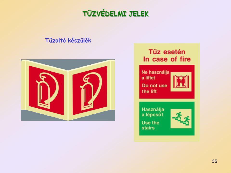 36 TŰZVÉDELMI JELEK Tűzoltó készülékek