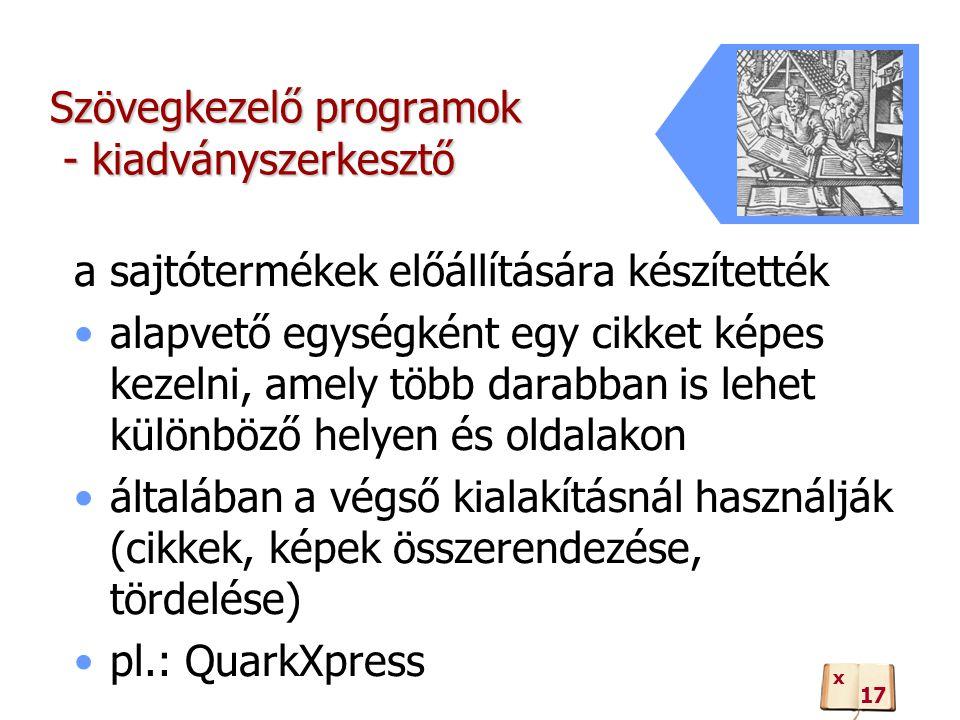 Szövegkezelő programok - kiadványszerkesztő a sajtótermékek előállítására készítették alapvető egységként egy cikket képes kezelni, amely több darabban is lehet különböző helyen és oldalakon általában a végső kialakításnál használják (cikkek, képek összerendezése, tördelése) pl.: QuarkXpress 17 x