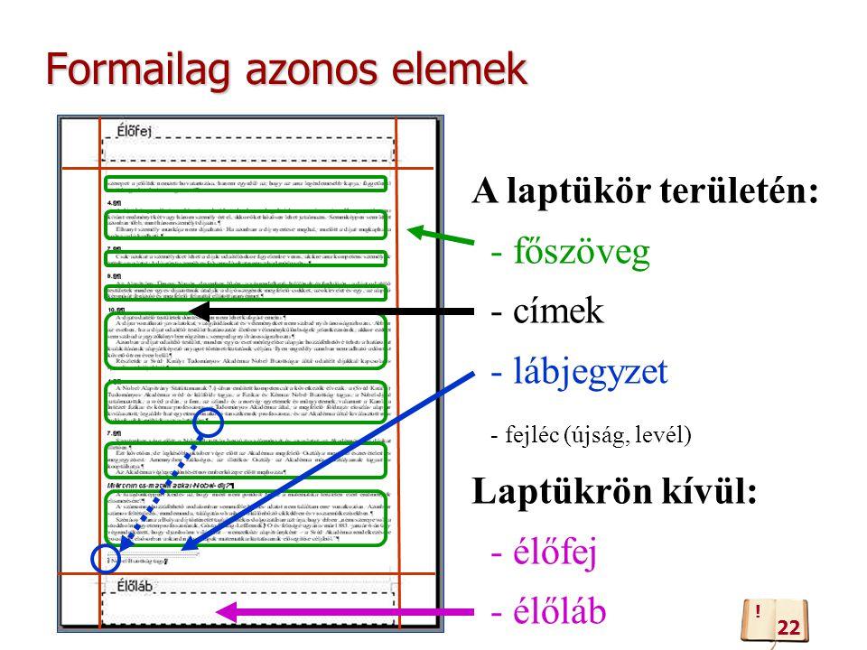 Formailag azonos elemek A laptükör területén: - főszöveg - címek - lábjegyzet - fejléc (újság, levél) Laptükrön kívül: - élőfej - élőláb 22 !