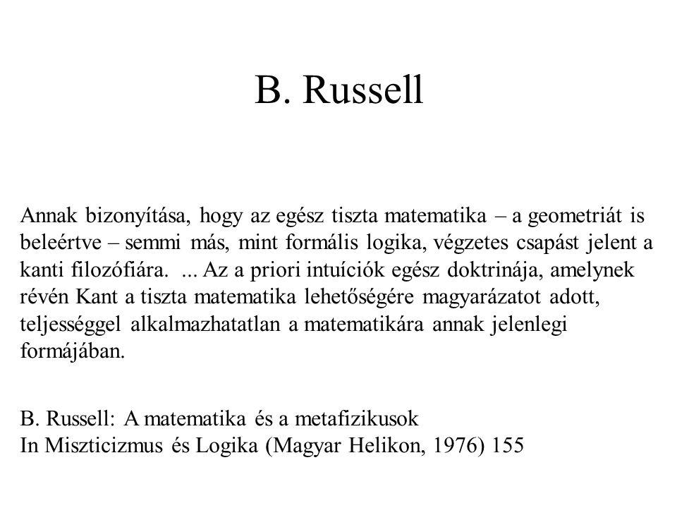 B. Russell Annak bizonyítása, hogy az egész tiszta matematika – a geometriát is beleértve – semmi más, mint formális logika, végzetes csapást jelent a