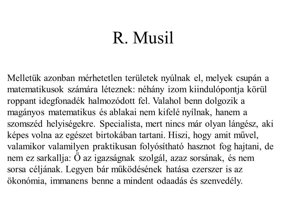 R. Musil Melletük azonban mérhetetlen területek nyúlnak el, melyek csupán a matematikusok számára léteznek: néhány izom kiindulópontja körül roppant i